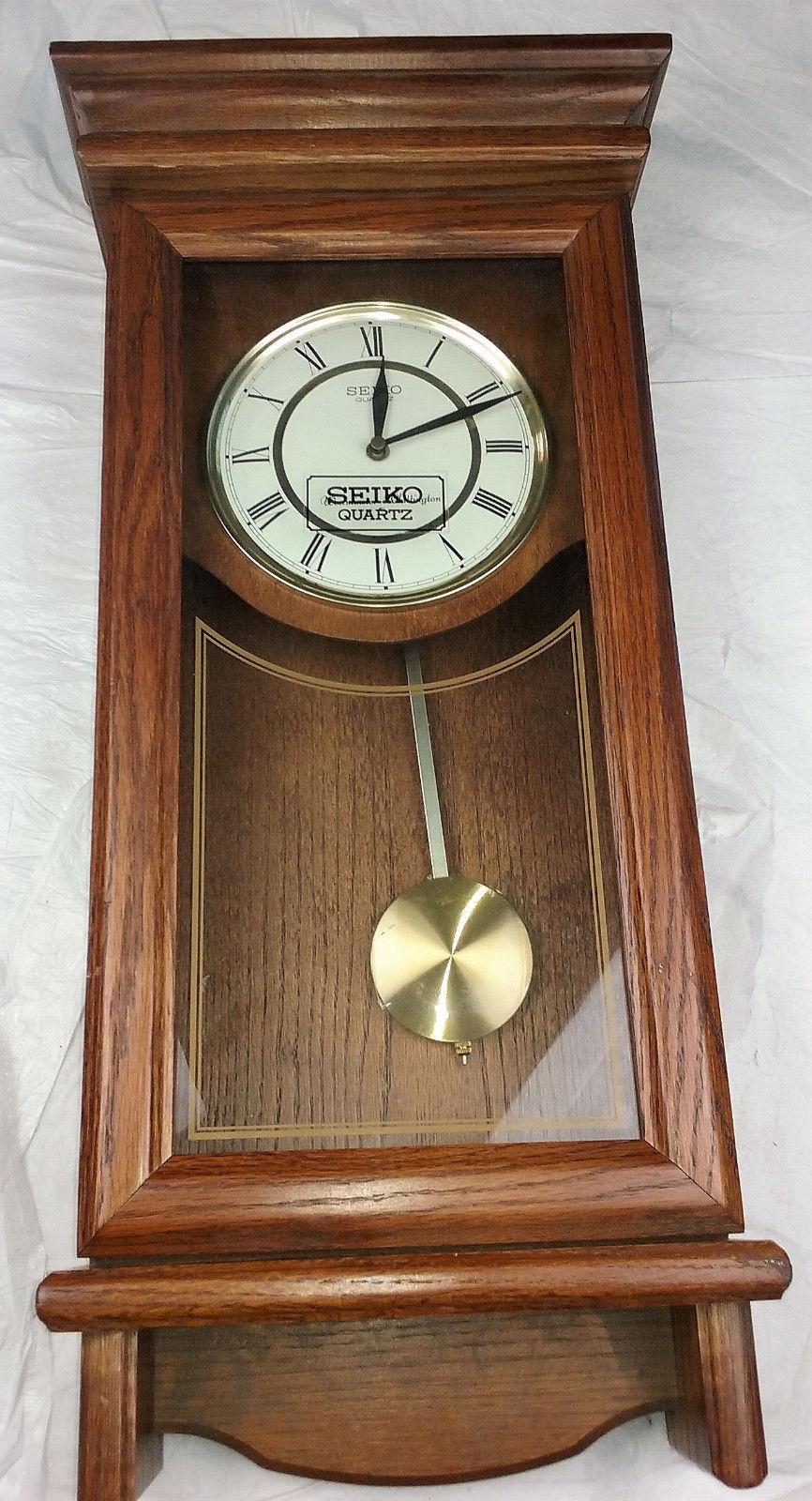 Seiko Quartz Wooden Wall Pendulum Clock Qxh101bc