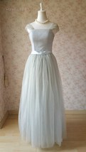 Elegant Gray Cap Sleeve A-line Tulle Bridesmaid Dress Gray Wedding Tutu Dress image 2