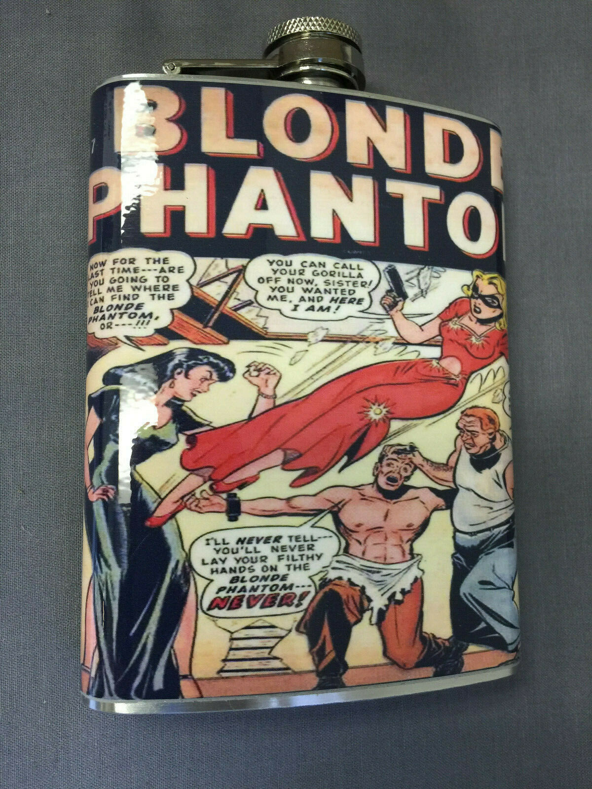 Blonde Phantom Comic Flask 8oz Stainless Steel Drinking Whiskey Clearance item