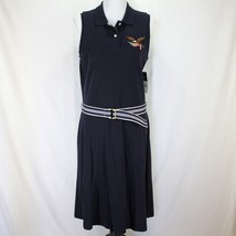 American Living Polo Dress Sz L Navy Blue Sleeveless Belted Cotton Eagle... - $27.99
