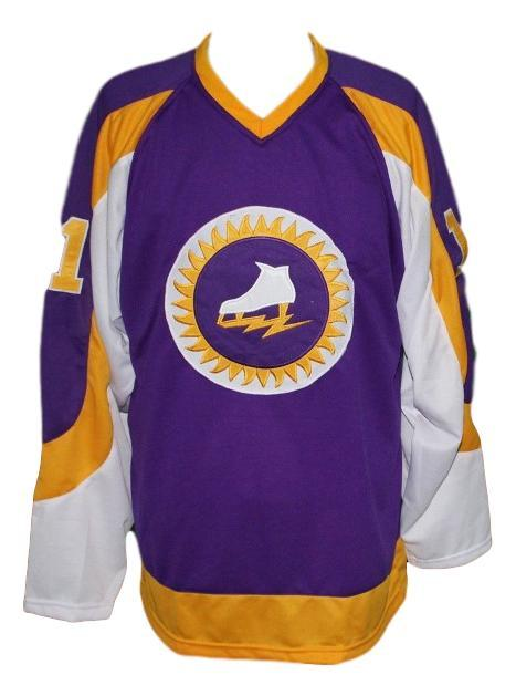 Custom Name # NY Golden Blades Retro Hockey Jersey Reichmuth Purple Any Size