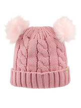 New! D&Y Warm Cable Knit Beanie With Double Pompom & Inner Sherpa/Fleece... - $12.99