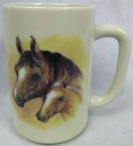 Vintage Otagiri Stoneware Horse and Foal Coffee Mug Japan Retro - $17.77