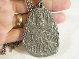 Father Frost Soul of Winter Pewter Pendant Necklace Rawcliffe Artist Signed Big  image 8