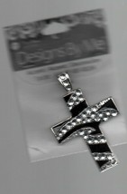 Black & White Rhinestone Cross Pendant - Designs By Me - Blue Moon Beads... - $2.70