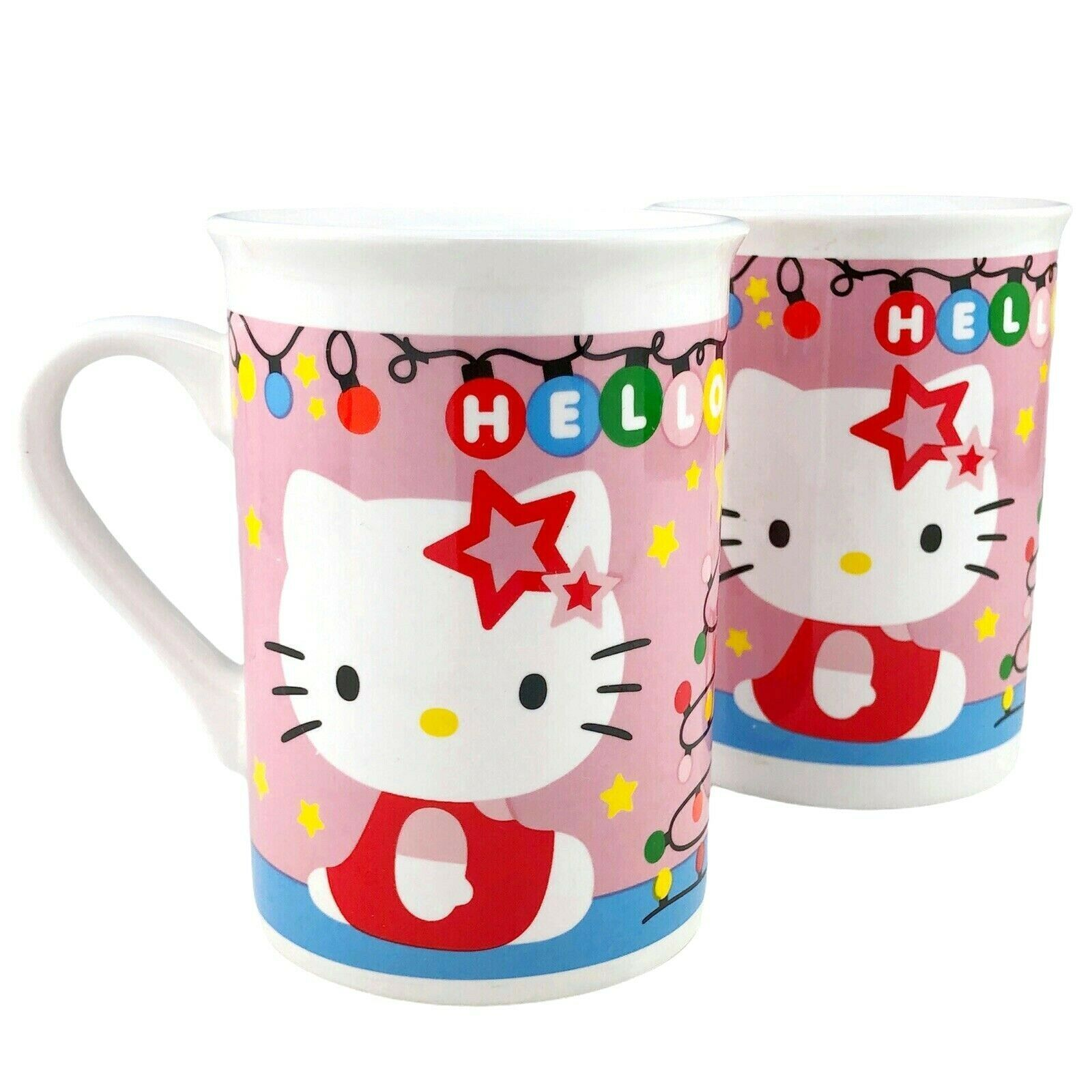 Primary image for 2 Hello Kitty Christmas Mugs Ceramic Coffee Cups Pink Lights Tree Stars Sanrio