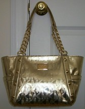 MICHAEL KORS DELANCY MIRROR METALLIC MONOGRAM LOGO PALE GOLD TOTE BAG NWT! - $259.99
