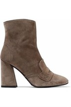 Stuart Weitzman Womens Moxanne Suede Penny Slot Ankle Booties Shoes 10 Taupe - $211.59
