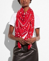 NWT! Coach F58837 Monogram Icons Oversized Square Bandana in Coral - $175.00