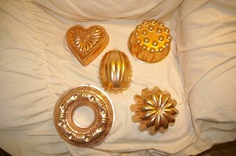 Mirro 5 Piece Aluminum Copper - Tone Mold Set Wall Decor Jello Vintage 1... - $29.99