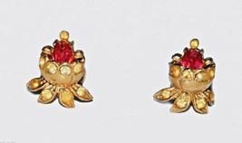 antique screw earrings red Rhinestone Gold vintage rhinestone earrings - $4.94