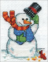 """Design Works Counted Cross Stitch Kit 2""""X3""""-Snowman & Cardinal (14 Count) - $11.06"""