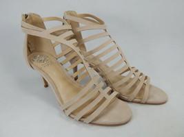 Vince Camuto Petronia Sz 8 W Breit EU 38.5 Damen Leder Ausschnitt Absatz Sandale - $51.97