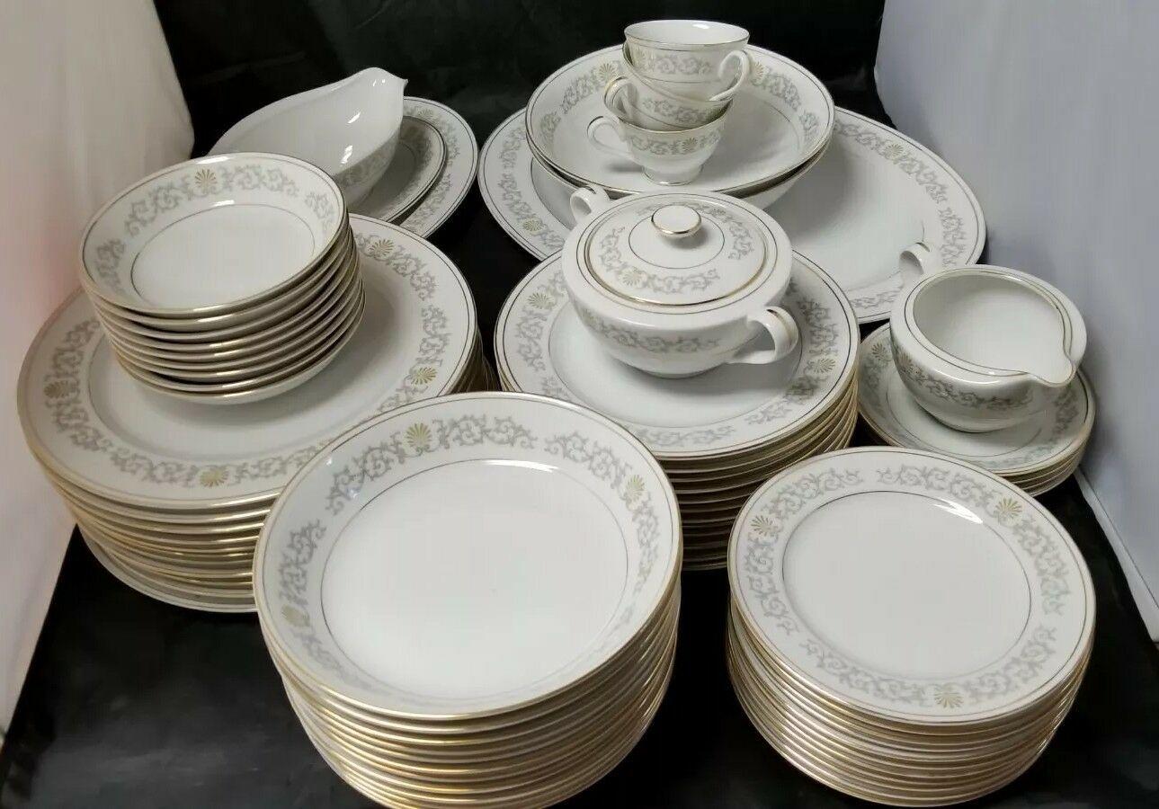 Rose China: 71 Piece Set, Joyce 2104, White w Gold Trim, Fine China, Japan