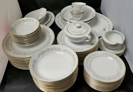 Rose China: 71 Piece Set, Joyce 2104, White w Gold Trim, Fine China, Japan - $338.62