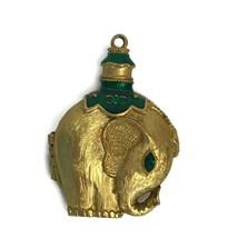Vintage Revlon Moon Drops Solid Perfume Pendant Elephant Emerald Green S... - $23.33
