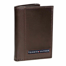 BRAND NEW TOMMY HILFIGER MEN'S LEATHER CREDIT CARD WALLET TRIFOLD BROWN 5676-2