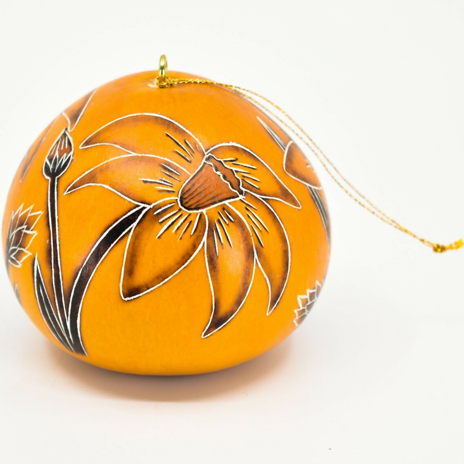 Handcrafted Carved Gourd Art Spring Daffodil Flower Floral Ornament Made in Peru