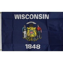 Wisconsin State Flag 3 x 5 quality + 6 ft Woodgrain Pole + Mount made in... - $29.65
