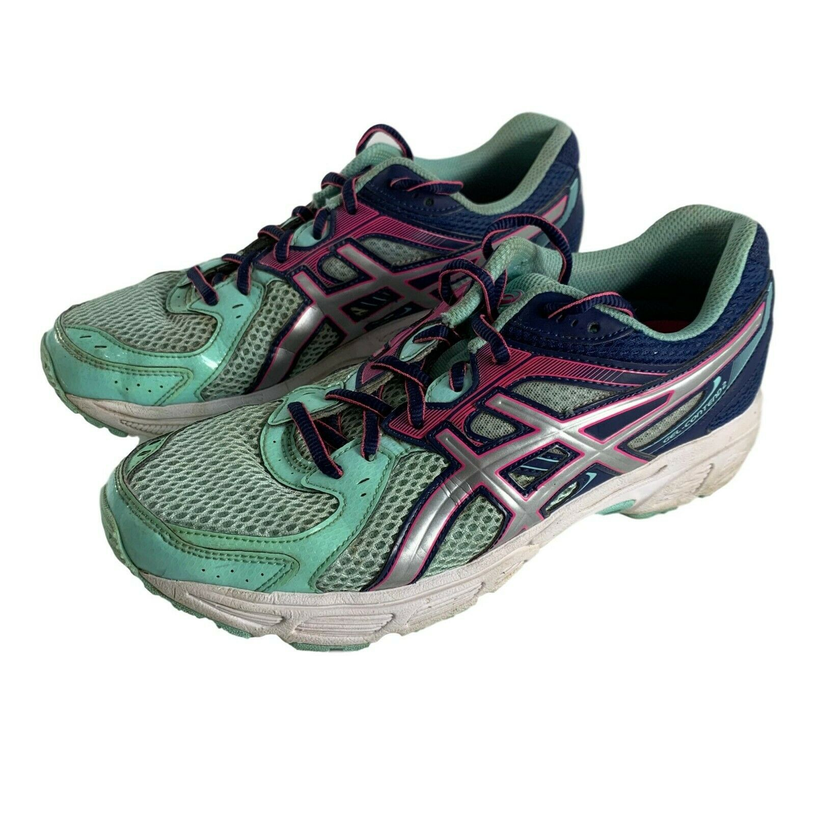 Primary image for ASICS T474N Womens Running Shoes Size 8.5 Gel Contend 2 Green Blue Pink Sneakers