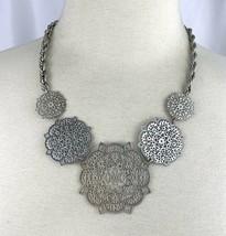 Avon NRT Silver Tone Statement Necklace Open Work Medallion Link Rope Ch... - $14.80