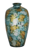 """21"""" Foiled & Lacquered Ceramic Vase  In Mint And Gold W/ - $91.56"""