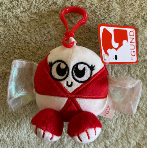 Primary image for NEW GUND Red White Peppermint Candy Holiday Fleece Toy Keychain Backpack Clip