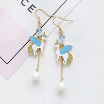 Blue Anime Cartoon Fly Unicorn Long Earrings Heart Beading Dangle Pearl ... - $12.80