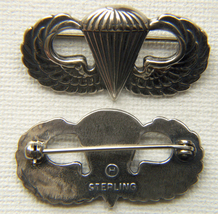 WWII Paratrooper Sterling Badge Jack Hailer (Heller) design pin back       - $45.00