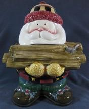 Sakura Debbie Mumm Woodland Santa Ceramic Cookie Jar Holding Firewood Christmas - $29.97