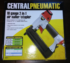 Central Pneumatic 18-Gauge 2-in-1 Air Nailer Stapler - NEW! - Finishing,... - $26.41