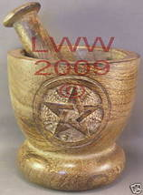 Wooden Pentacle Engraved Mortar & Pestle Wicca Pagan - $19.75