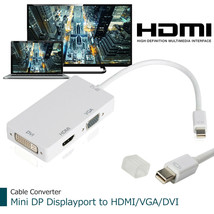 3 In 1 Thunderbolt Mini Display Port DP to VGA HDMI DVI Cable Adapter For PC - $16.99