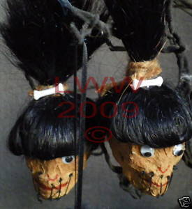 4 Handmade black Shrunken Head Gothic Ornaments~ NEW
