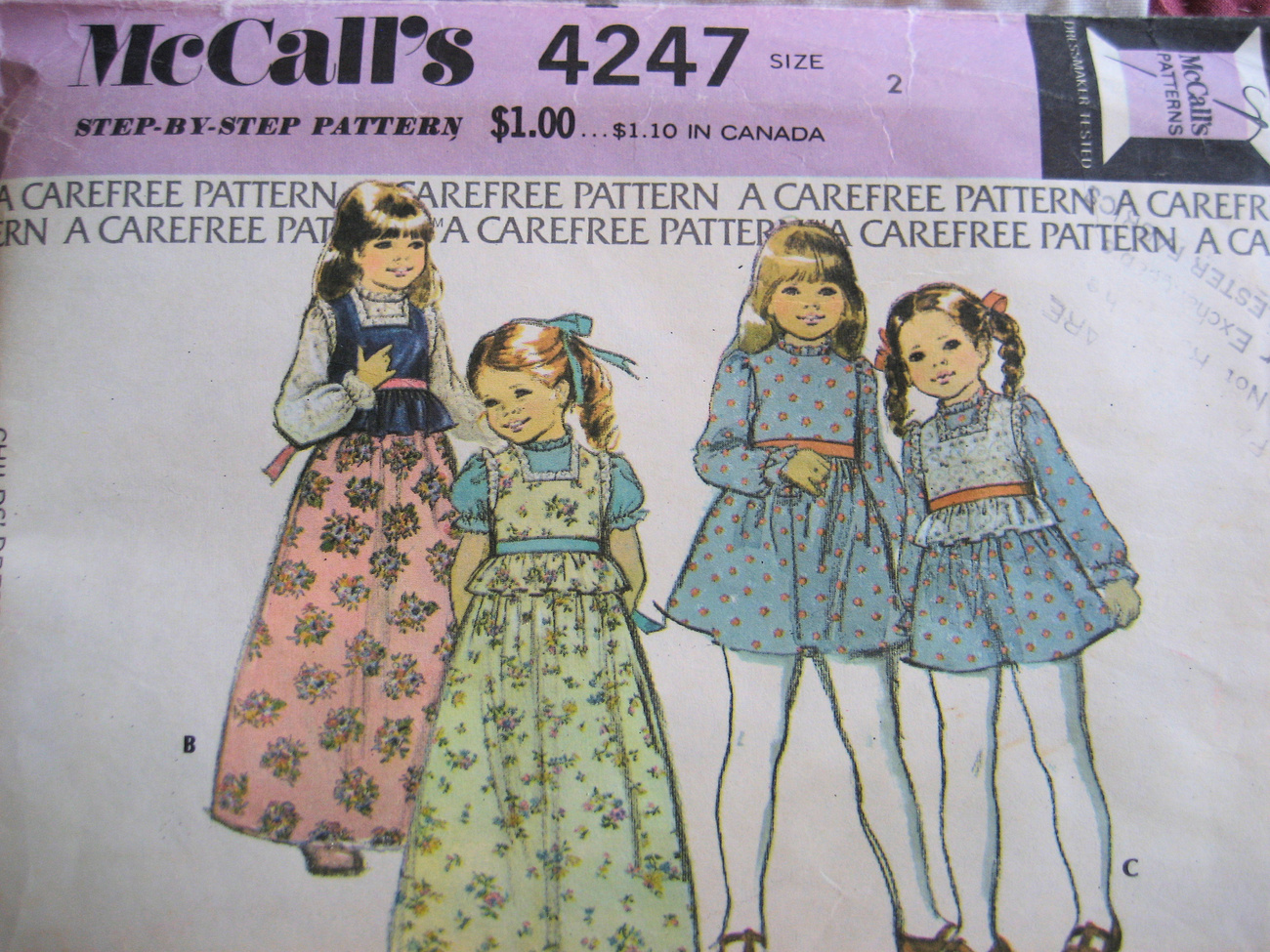 McCalls 4247 Vintage 70s Pattern Girls Size2 Dress Camisole  McCall's