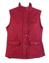 Talbots Quilted Vest Size SP Womens Petite Red Fleece Lined Zip Front - $22.31