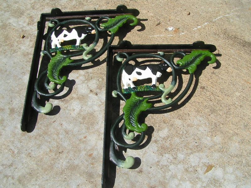 Cast Iron Dairy COW Wall Braces Shelf Corbels Brackets