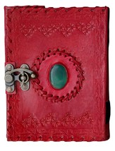 Prastara Handmade Goat Leather Journal One Chakra Medieval Stone Embosse... - $35.00