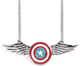 Marvel Comics Captain America Shield Logo with Wings Pendant Necklace Li... - $11.59