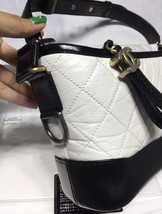 NWT AUTH Chanel 2019 BLACK White Quilted Leather Small Gabrielle Hobo Bag GHW image 3