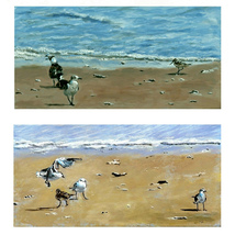 Birds on The Beach I and II, A Paired Set of Be... - $800.00