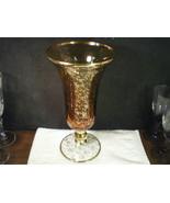 CAMBRIDGE~TIFFIN~FOSTORIA ETCHED AMBER TRUMPET VASE~~WOW~~IS THIS SPECIA... - $29.99