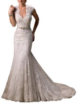 Elegant Lace Cap Sleeve Keyhole Back Mermaid Wedding Dress With Train - $270.00