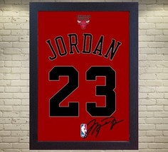 Michael Jordan Chicago Bulls signed autograph NBA Framed 100% COTTON Can... - $20.46