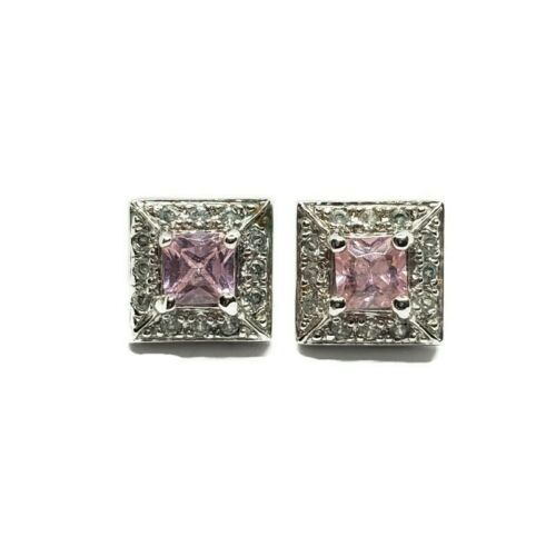Primary image for Ross Simons 925 Sterling Silver Pink & Clear CZ Cubic Zirconia Stud Earrings