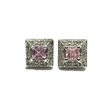 Ross Simons 925 Sterling Silver Pink & Clear CZ Cubic Zirconia Stud Earr... - $19.79