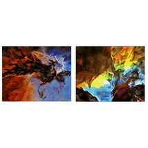 The Eagle And Lagoon Nebulas, A Paired Set of Space Landscapes, Each 16 ... - $1,900.00