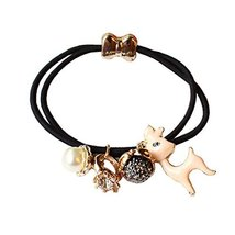 Set of 4 Beads Diamond Flower Deer Hair Rope Ponytail Holders, Black