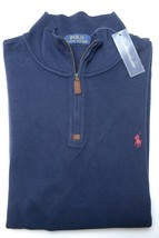Polo Ralph Lauren Men's 1/2 Zip French-Rib Navy Cotton Sweater Sweat New... - $55.23