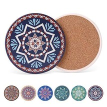 Coasters for Drinks Set of 6 - Absorbent Ceramic Stone Drink Coaster Set... - $14.06